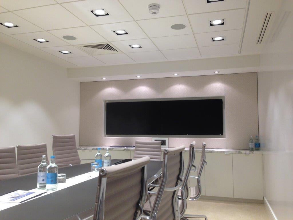 Telepresence room lighting fire av HVAC